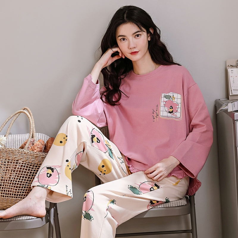 Cozy Long Sleeves Pajamas with Cute Pastel Apple Prints #770021
