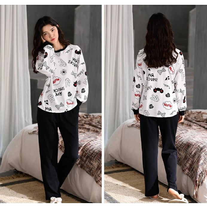 Comfy Long Sleeves Pajamas with Cute Print #73505