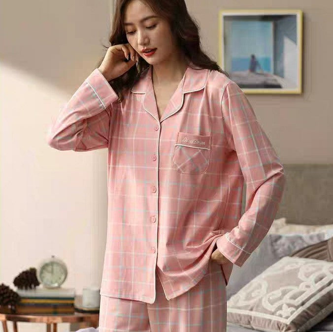 Cute Pastel Checkered Long Sleeves Pajamas with Embroidery #75061