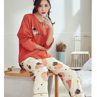Comfortable Pastel Floral Long Sleeves Pajamas #77813