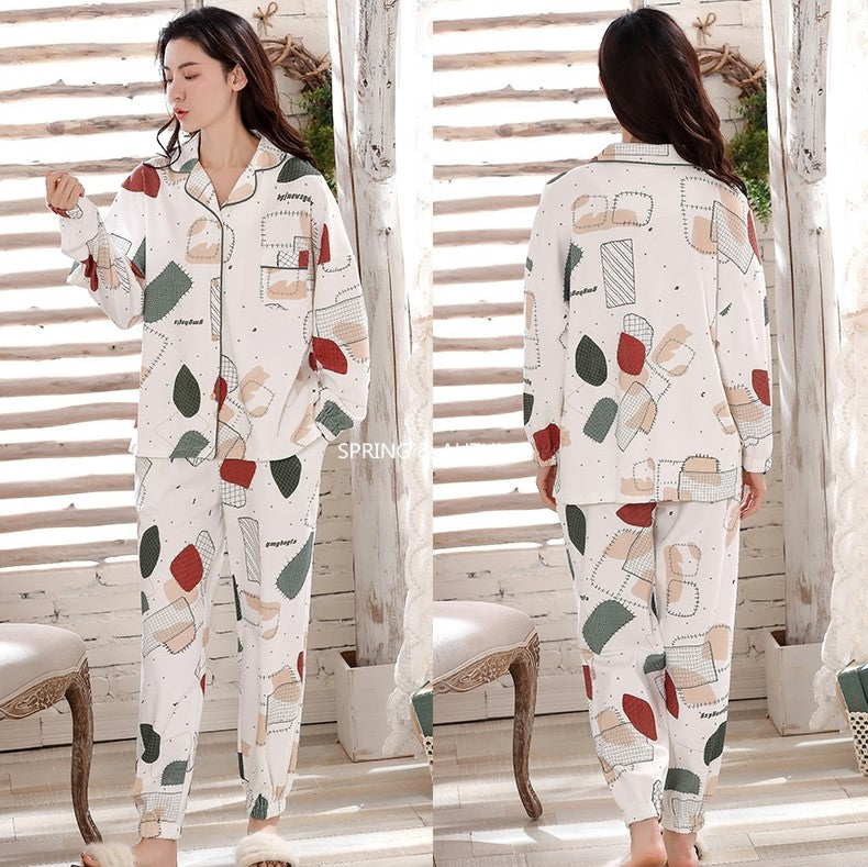 V-Neck Long Sleeves Pajamas with Cute Quilt Patches Print #77832