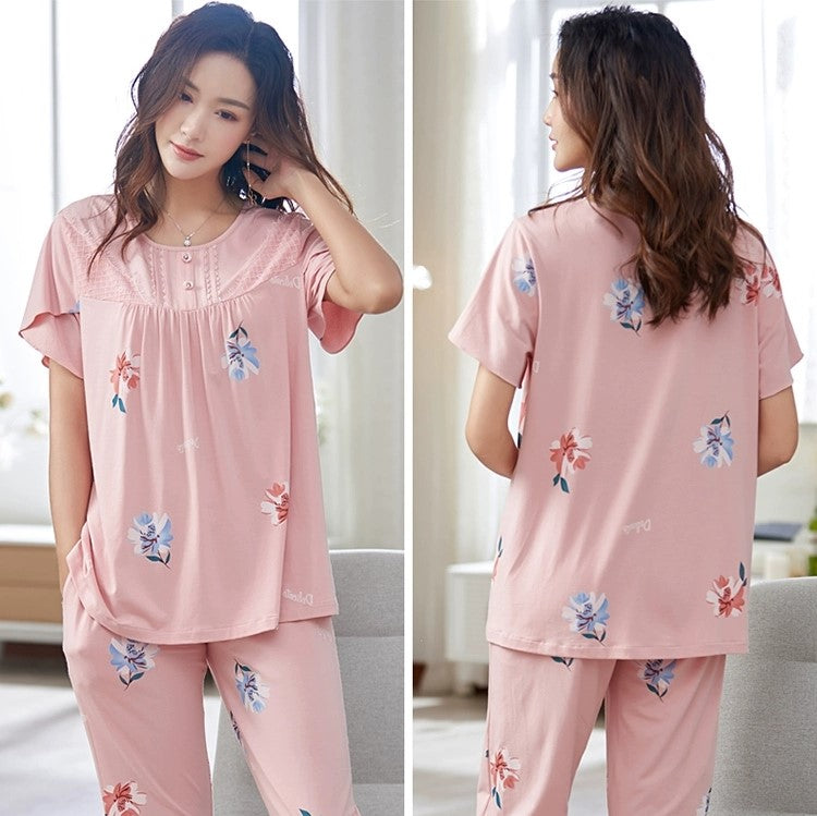 Short Sleeves Floral Beauty Pajamas #719819