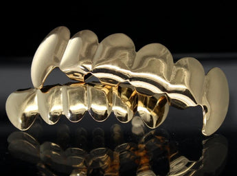 18K Gold Plated Fang Grillz set