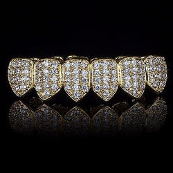 18K Gold Plated CZ ICED OUT Bottom Grillz