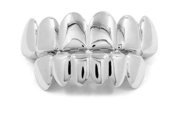 18K White Gold Plated Grillz - Boss Grillz