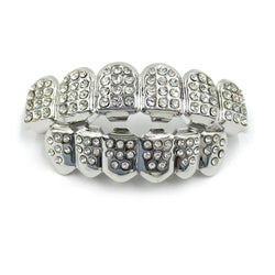 18K White Gold ICED Grillz - Boss Grillz