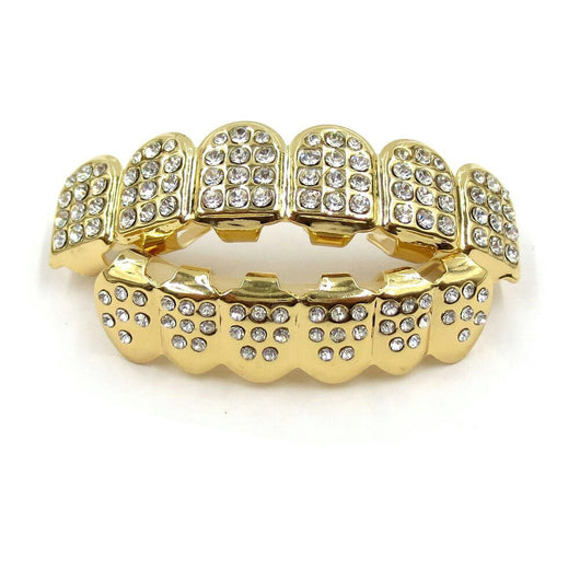 18K Gold Plated Iced Grillz - Boss Grillz