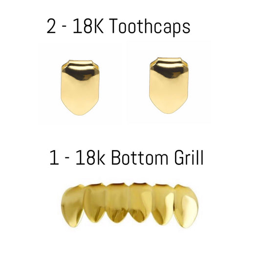 2 - 18k Gold toothcaps & 1 - Gold bottom grill