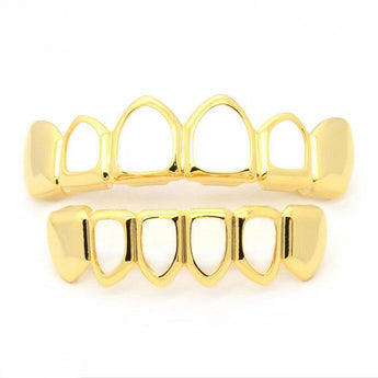 14K Gold Plated Open face grillz