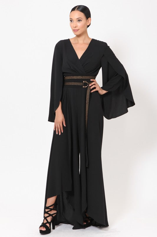 Woven Open Leg Slit Detailed Jumpsuit With Belt