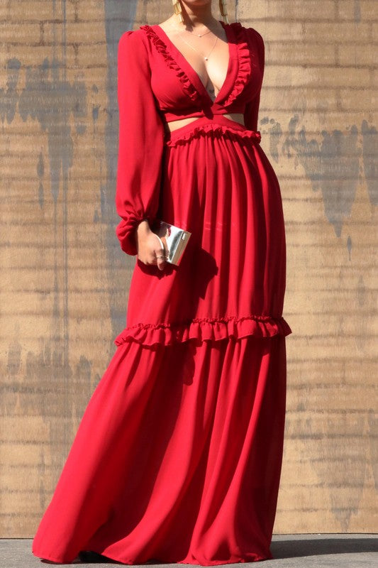 Lace Up Woven Puff Sleeve Maxi Dress