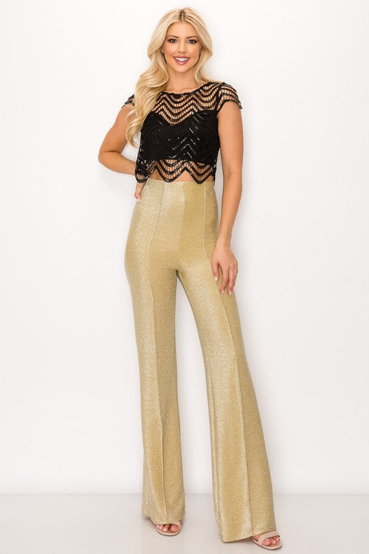 Glammed Flared Pants in Shimmer Glitter