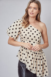 Polka Dot One Shoulder Top