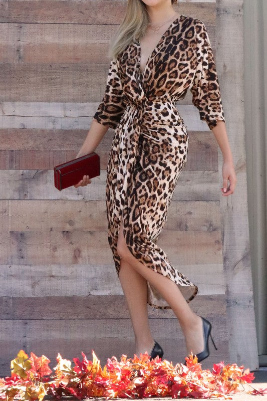Leopard Venetian Ruched Body Con Dress