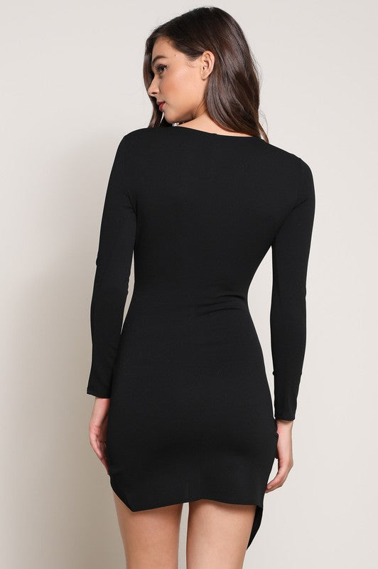 Long Sleeve Bodycon Assymetrical Wrap Dress