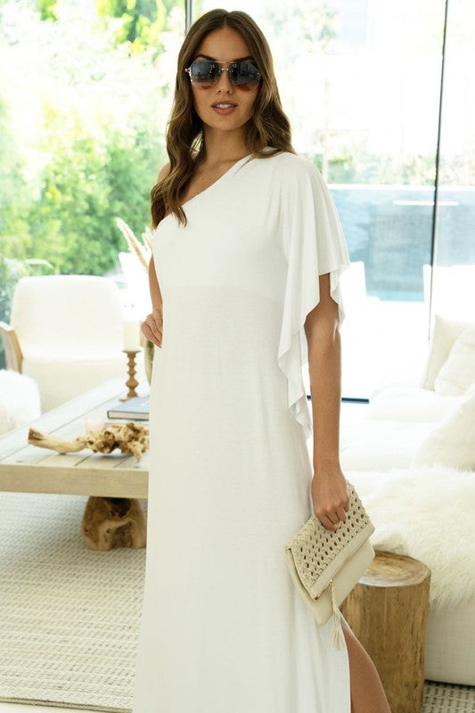 Single Side Drape Sleeve Off Shoulder Maxi Dress