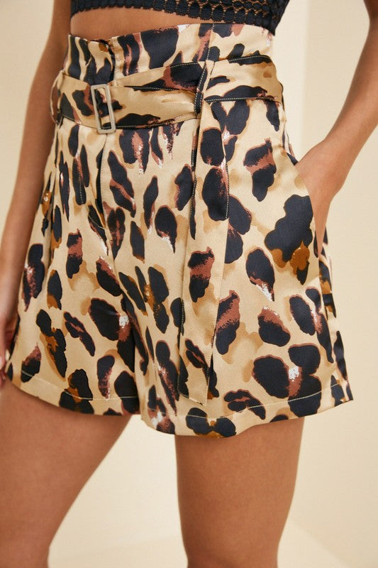 Leopard Paper Bag Short