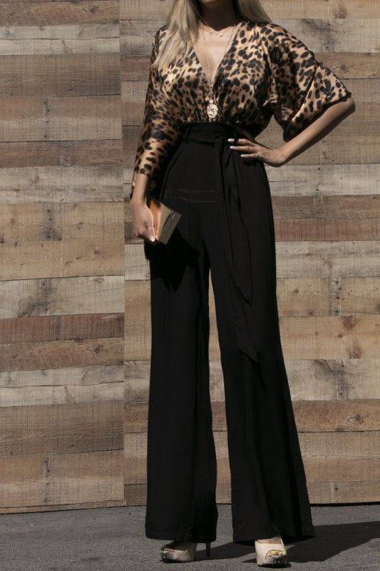 Animal Woven Jumpsuit With Pocket