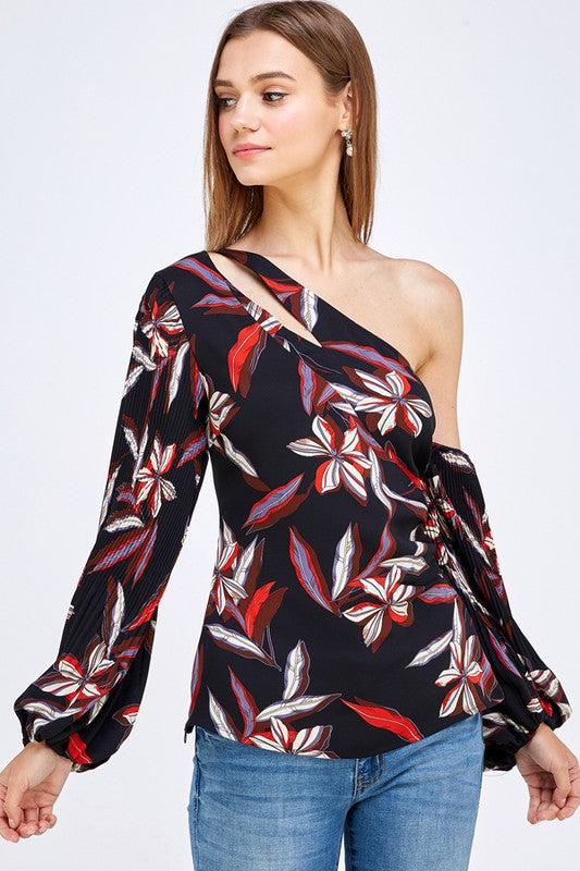 Print One Shoulder Ballon Sleeve Top