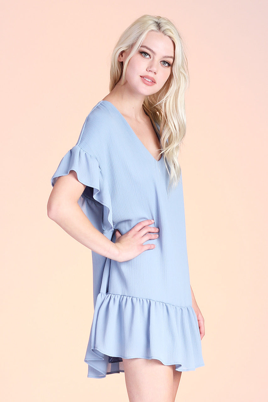 Crinkle Solid Ruffle Tunic Dress