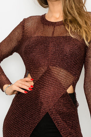 Metallic Tunic Sweater