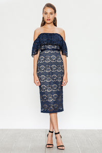 Off Shoulder Lace Midi Dress