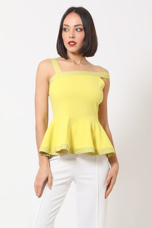 Peplum Top W/Greek Design Straps One Off The Shoulder
