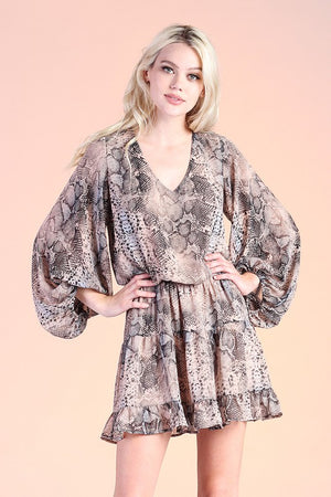 Shadow Snake Chiffon Balloon Sleeve Dress