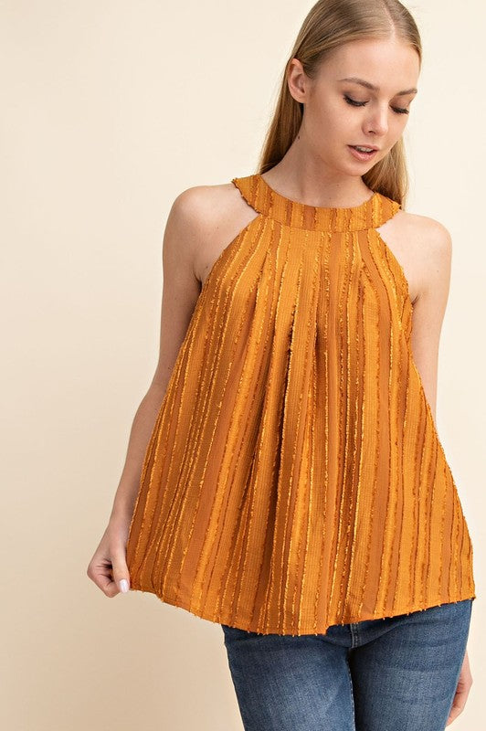 Pleated textured high neck sleeveless top