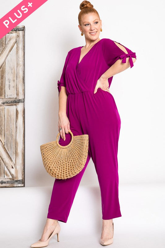 Wrapped V Neck Solid Jumpsuit