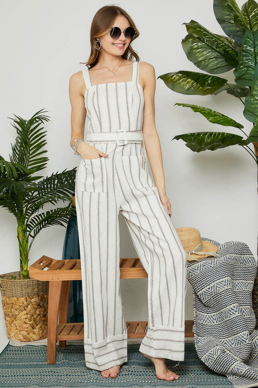 STRIPED POCKET WAIST TIE JUMPSUIT