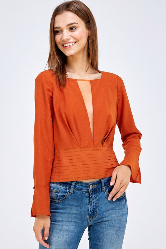 Satin Sheer V Cutout Neck Detail Top