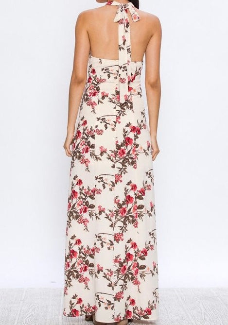 Maxi Dress Halter With Floral Print