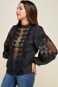 Out Lace Stitching Top