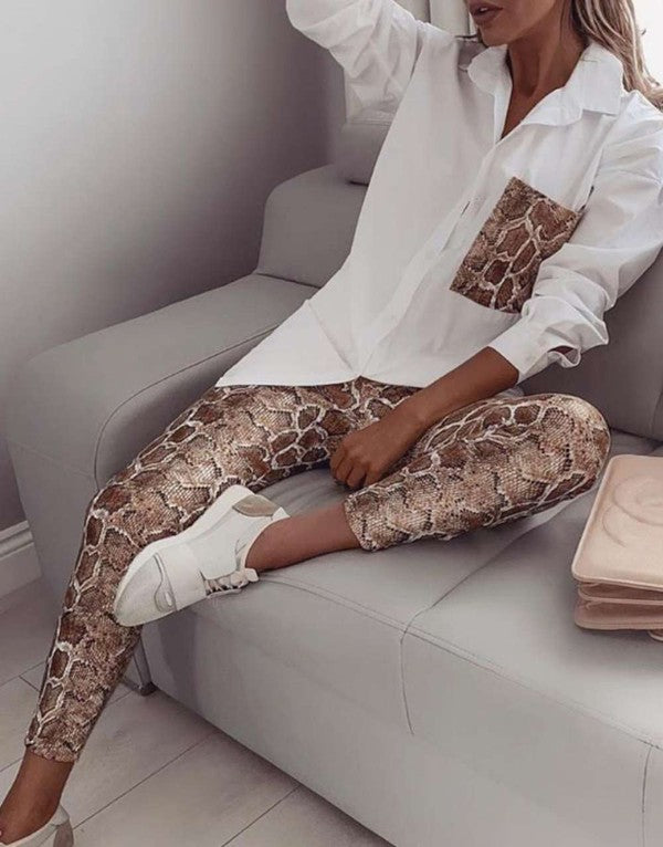 womens white top snake pants set