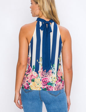 Halter Neck Print Top