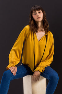 Silky Blouse With Drawstring Neck And Bishop Sleeve