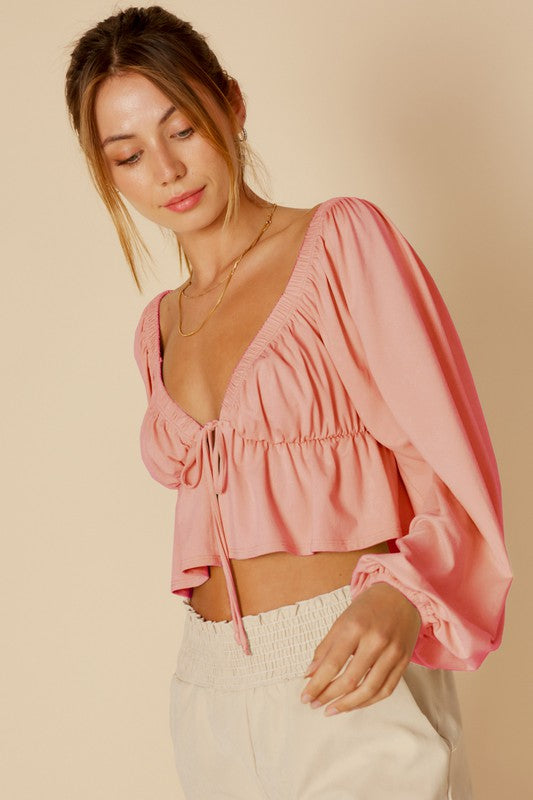 LONG SLV BABY DOLL KNIT TOP