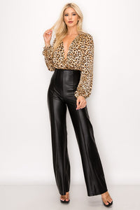 Leather High Waist Flared Pants
