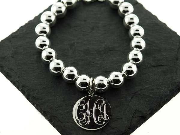 Sterling Knot Chunky Monogram Ball Bead Bracelet