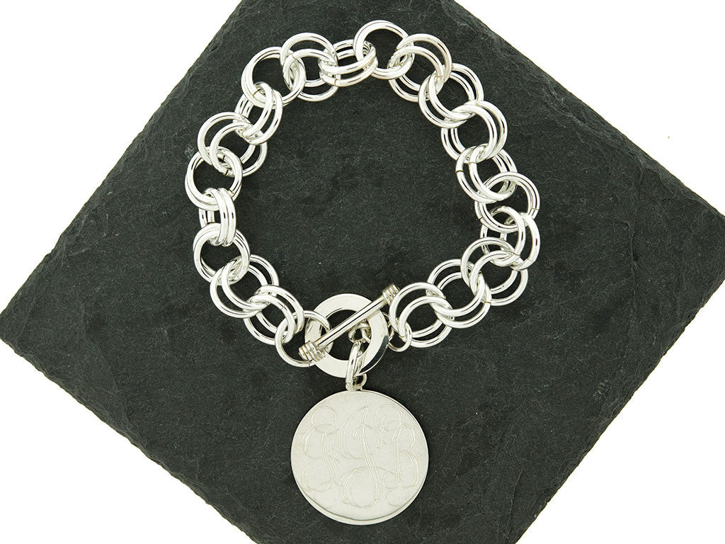 Sterling Knot Chunky Double Link Rolo Monogram Charm Bracelet