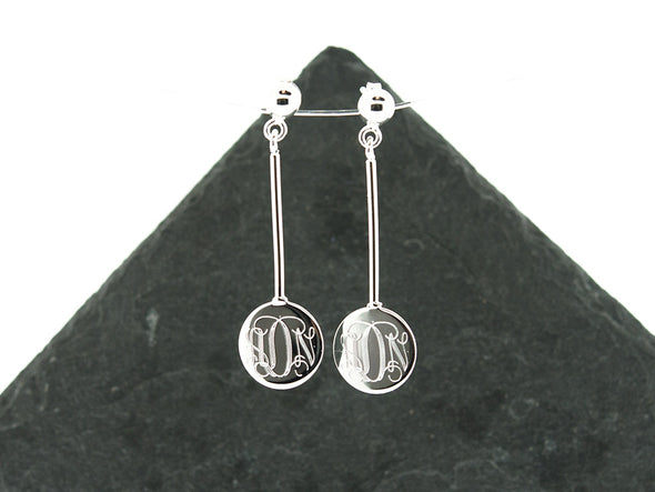 Disc Dangle Stud Monogram Earrings