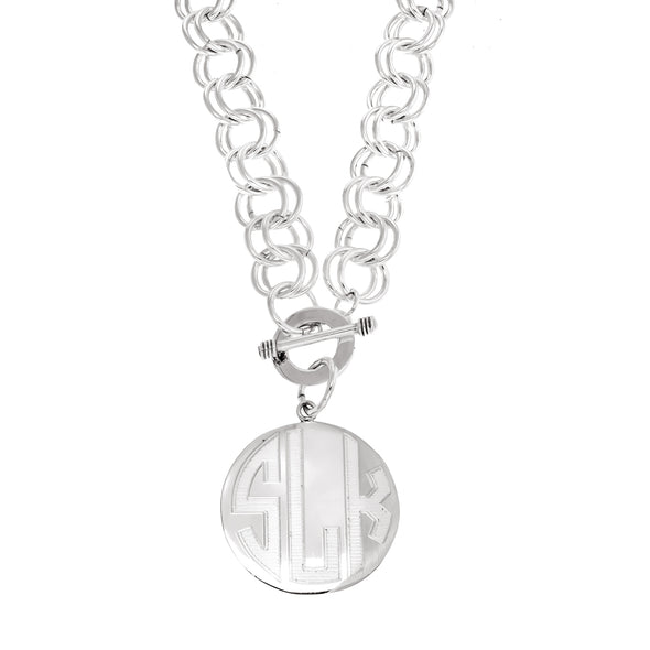 Chunky Double Link Rolo Monogram Necklace