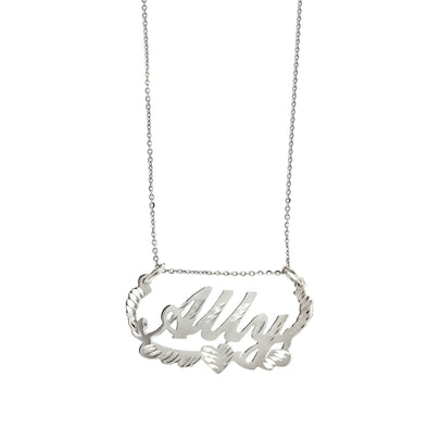 Silver Diamond Cut Name Plate Necklace (Lady Gaga)