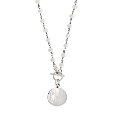 Freshwater Pearl Toggle Monogram Disc Necklace