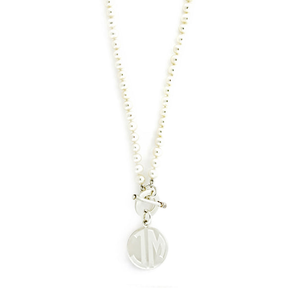 6mm Freshwater Pearl Monogram Toggle Necklace