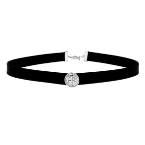 CZ Halo Monogram Choker Necklace