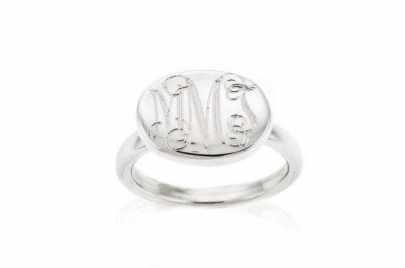 Reverse (Sideways) Oval Monogram Ring