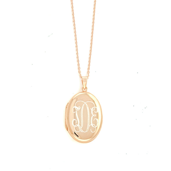 Rose Gold Oval Monogram Locket Necklace