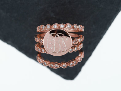 Rose Gold Art Deco Stacking Monogram Ring
